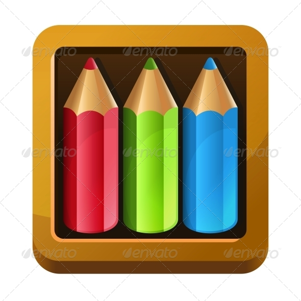 Wooden Box with Pencils - Miscellaneous Vectors