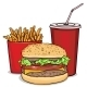 Cartoon Fast Food Combo - Hamburger, French - GraphicRiver Item for Sale