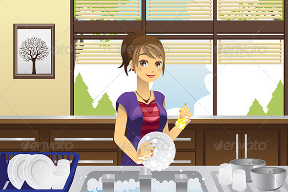 Housewife Washing Dishes - People Characters