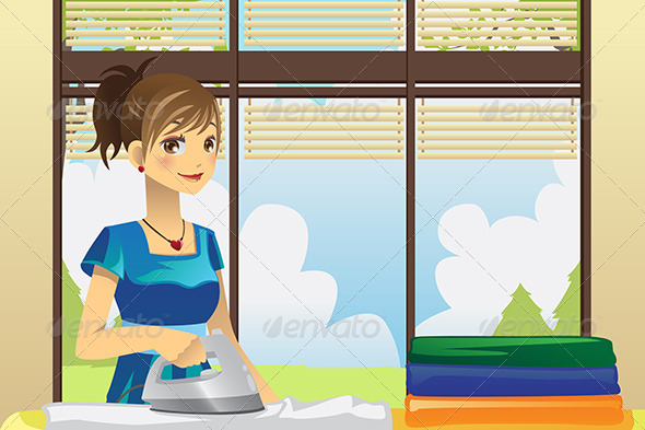 Housewife Ironing Clothes - People Characters