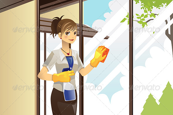 Housewife Cleaning Windows - People Characters