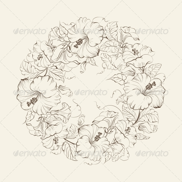 Hibiscuses Wreath Background. - Flowers & Plants Nature