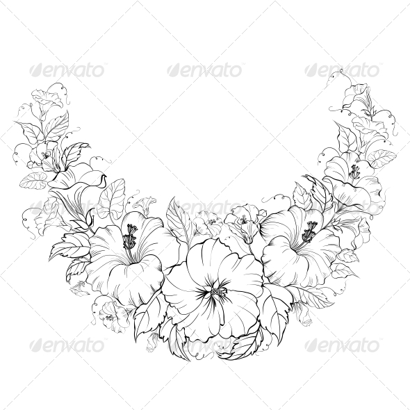 Hibiscus Wreath Background. - Flowers & Plants Nature