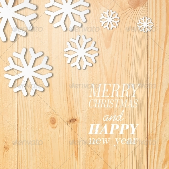 Wood Board with White Snow and Stars. - Christmas Seasons/Holidays