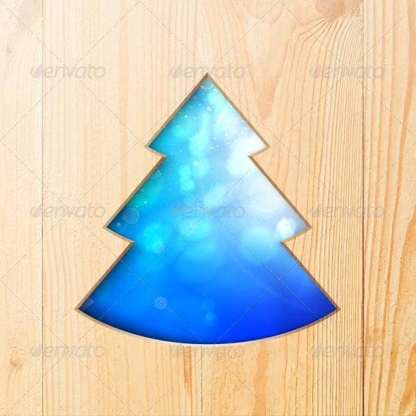 Christmas Tree Carved from Wood - Christmas Seasons/Holidays
