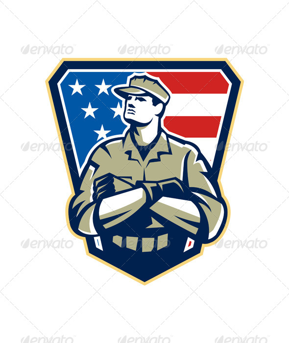 American Soldier Arms Folded Flag Retro - People Characters