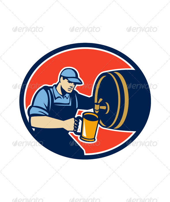 Brewer Bartender Pour Beer Pitcher Barrel Retro - People Characters