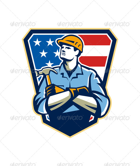 American Builder Carpenter Hammer Crest Retro - People Characters