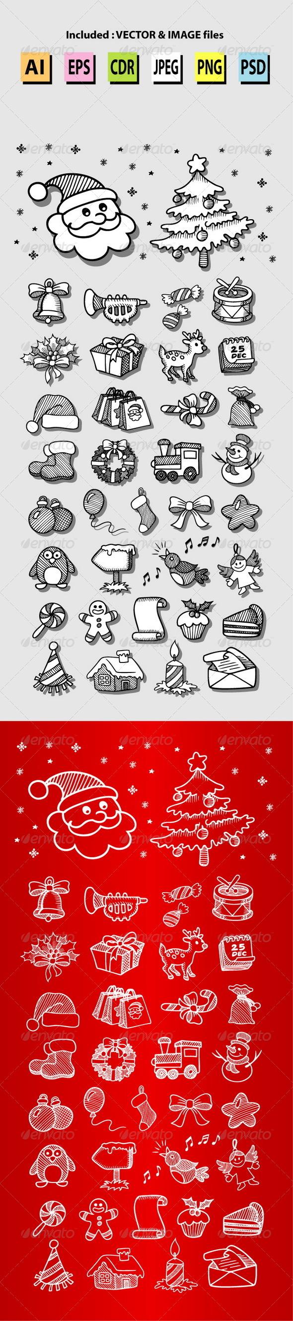Set of Christmas Icon Sketches - Christmas Seasons/Holidays