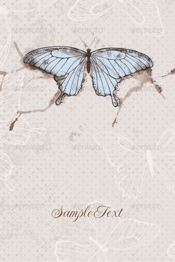 Vector Background with Watercolor Butterfly - Weddings Seasons/Holidays