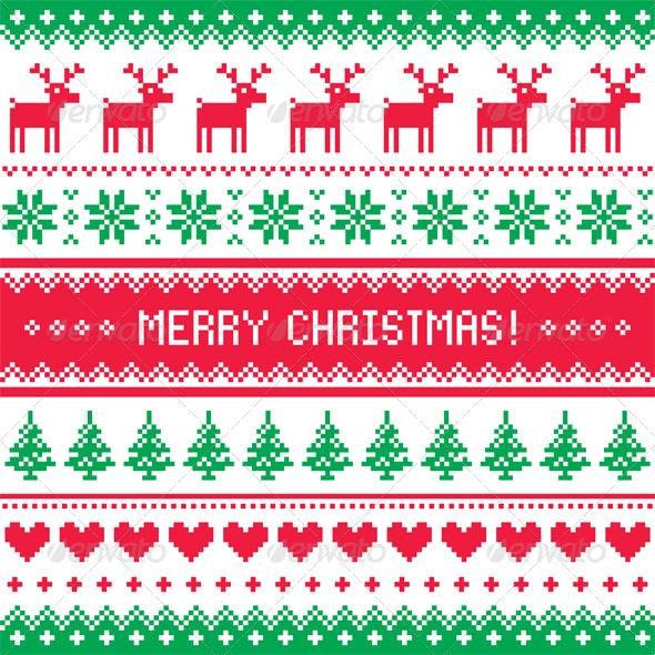 Merry Christmas Pattern with Deer - Christmas Seasons/Holidays