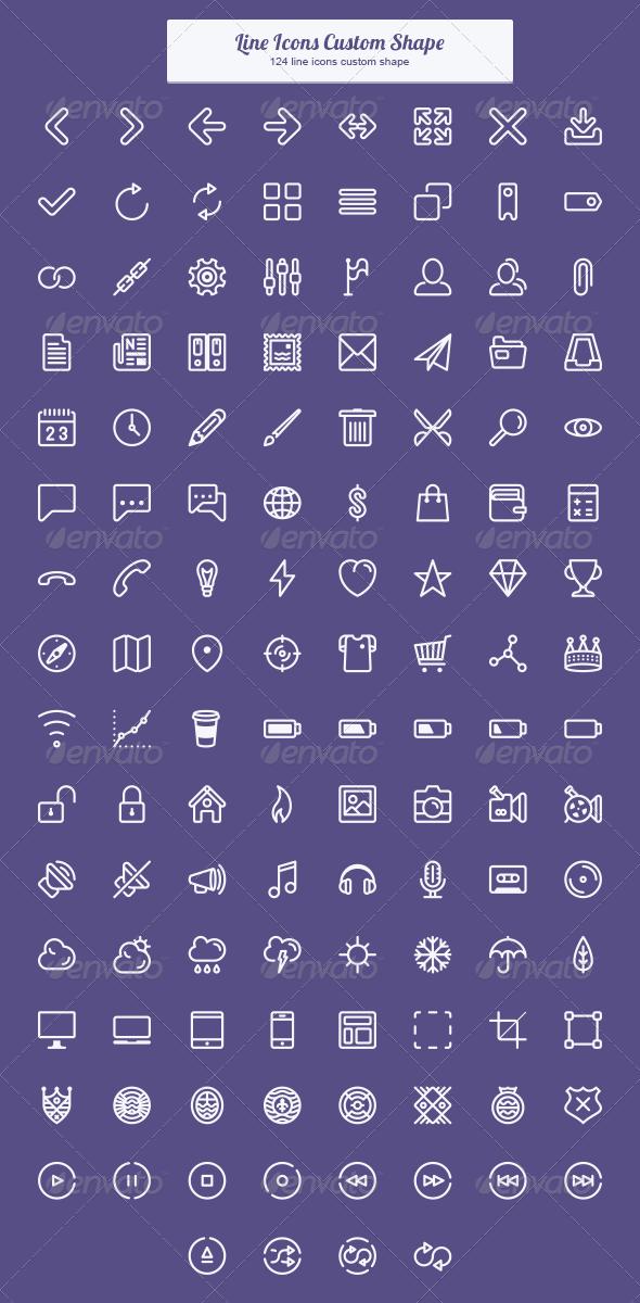 Line Icons Custom Shape - Shapes Photoshop