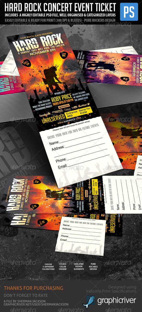 Hard Rock Concert Event Ticket/Show Pass - Miscellaneous Print Templates