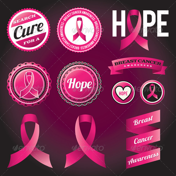 Breast Cancer Awareness Ribbons and Badges - Health/Medicine Conceptual