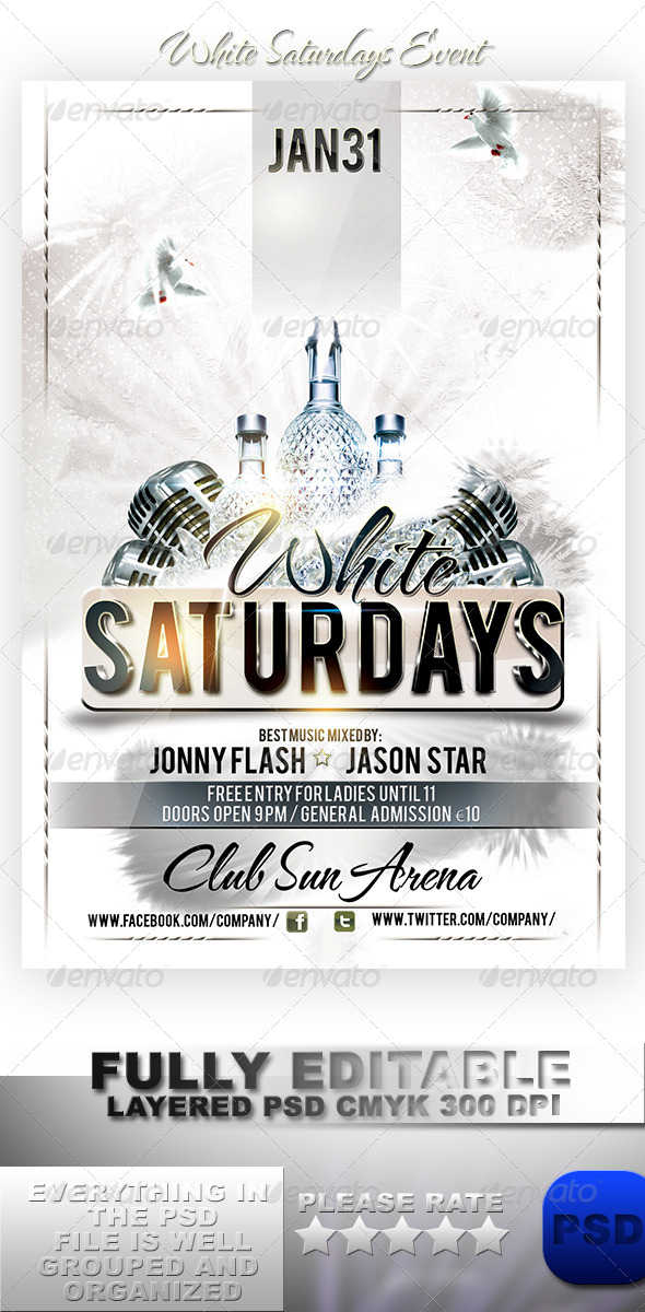 White Saturdays Event - Events Flyers