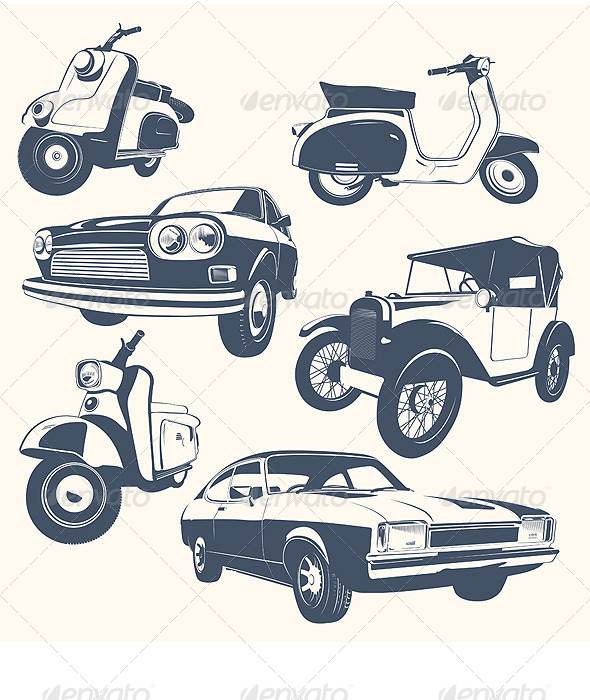 Set of Car & Motorcycle - Objects Vectors