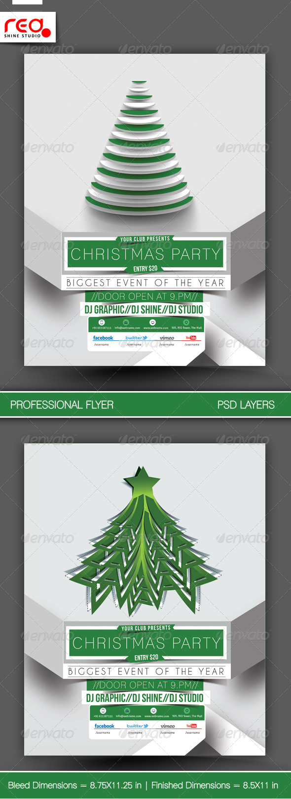 Christmas Party Flyer & Poster Template - 2 - Clubs & Parties Events