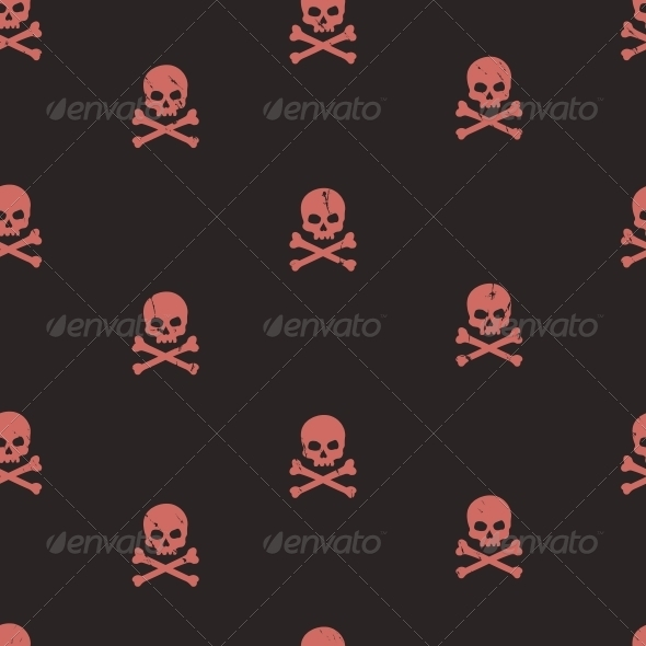 Seamless Pattern with Skulls  - Patterns Decorative