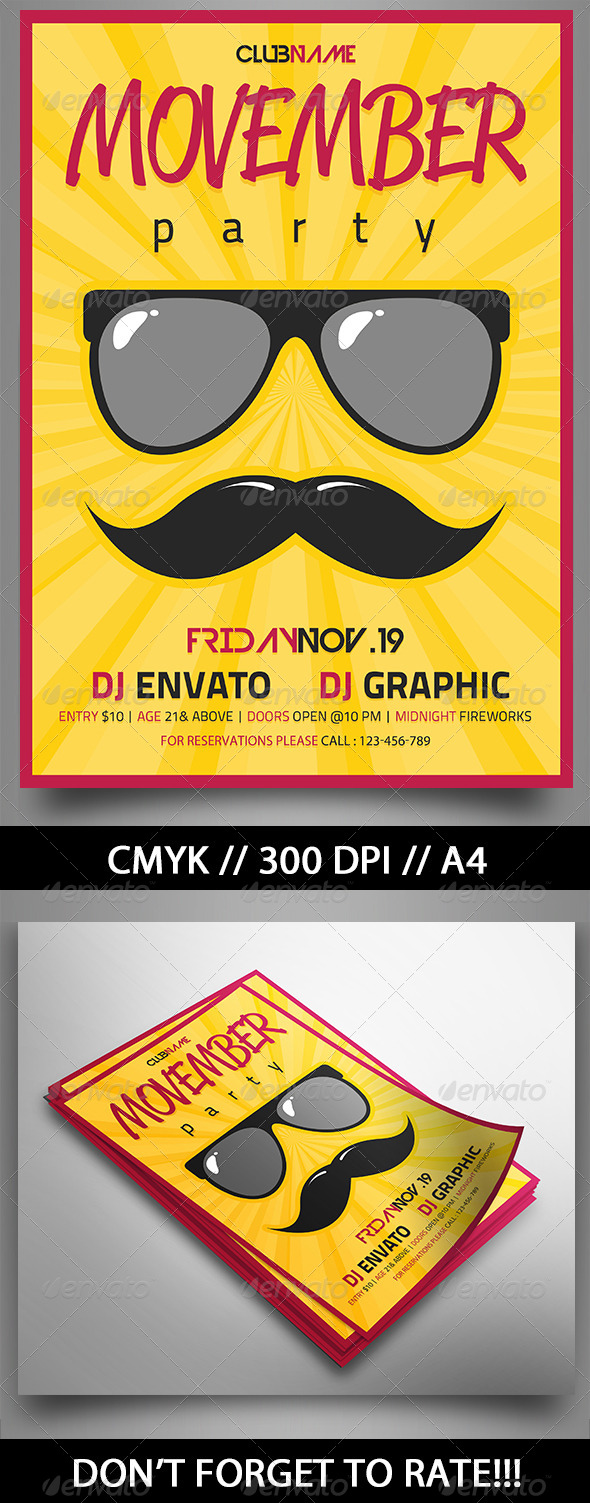 Movember Party - Events Flyers