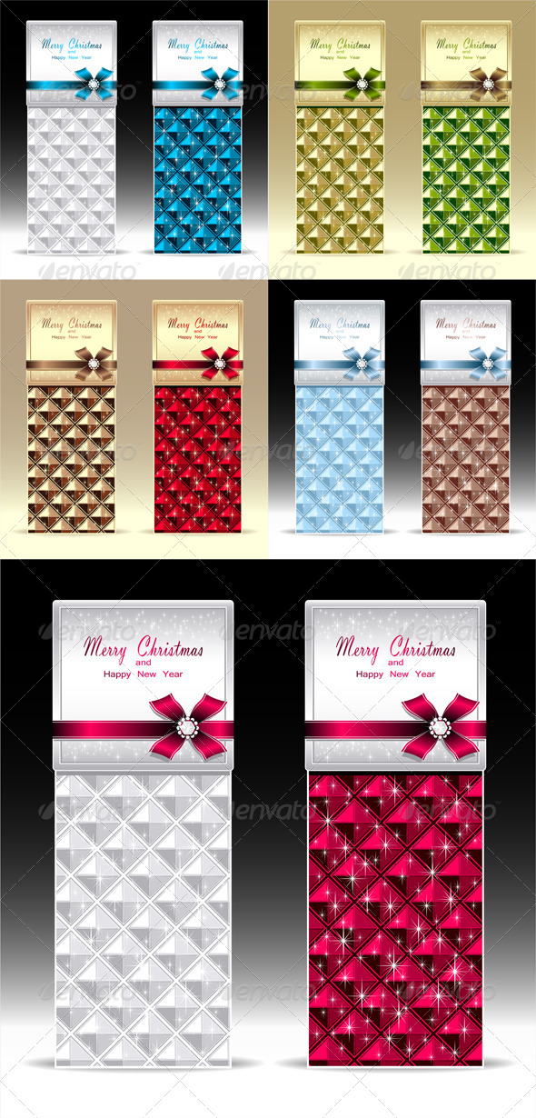 Banners or Gift Card with Bow Geometric Pattern  - Seasons/Holidays Conceptual