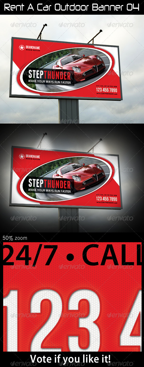 Rent A Car Outdoor Banner 04 - Signage Print Templates