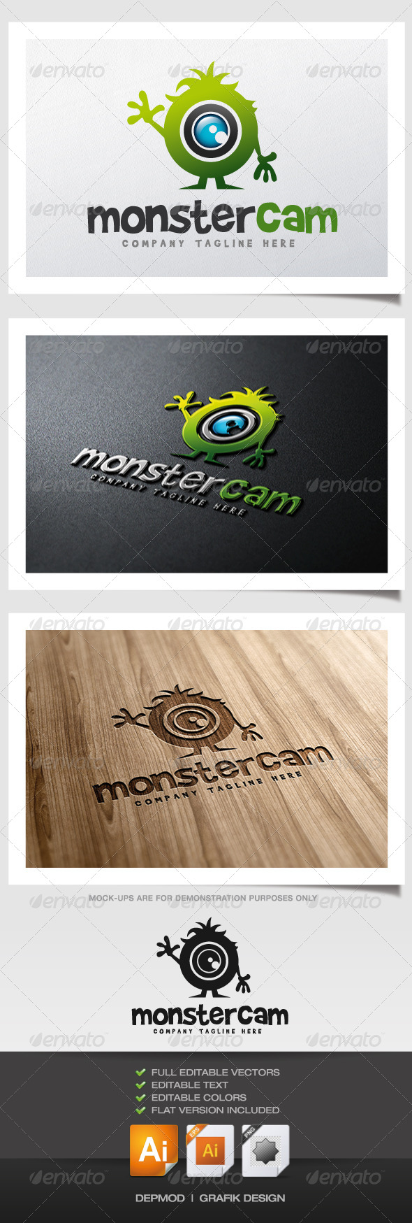 Monster Cam Logo - Objects Logo Templates