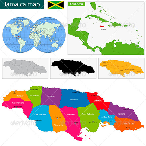 Jamaica Map - Travel Conceptual
