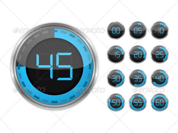 Digital Timers - Objects Vectors
