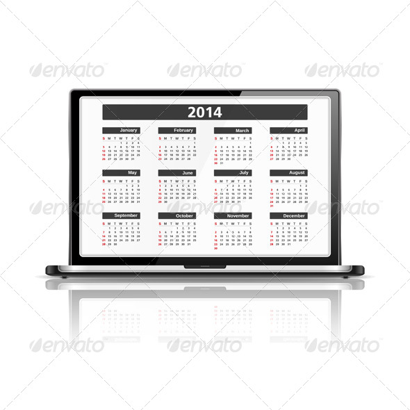 Calendar 2014 in Laptop - Computers Technology