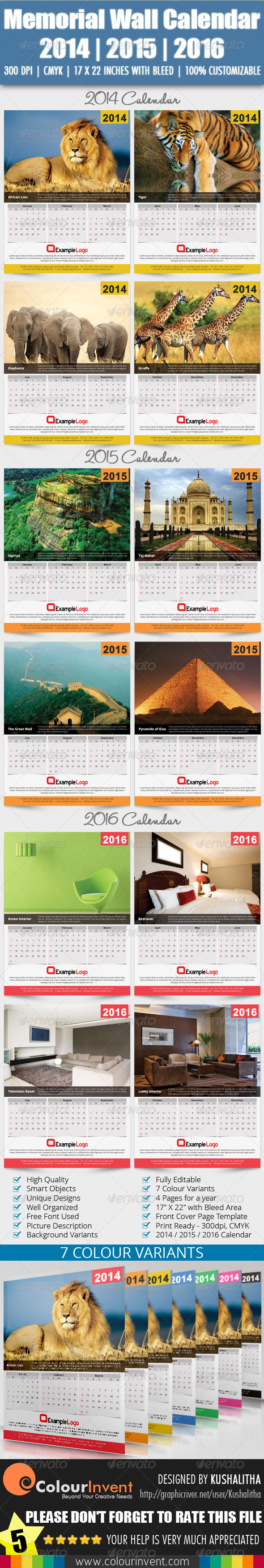 Memorial Wall Calendar 2014 | 2015 | 2016 - Calendars Stationery
