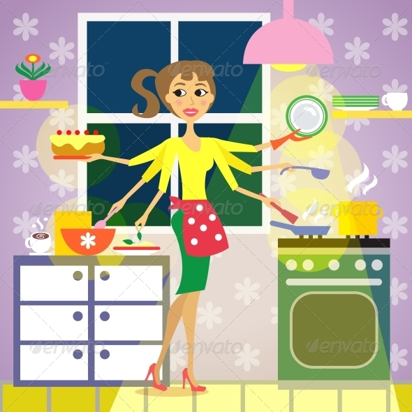 Kitchen Woman Cuisine - People Characters