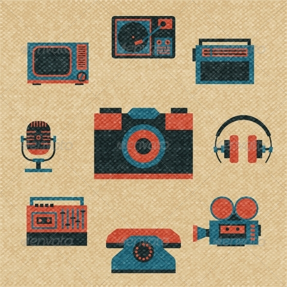 Vintage Media Icons - Decorative Symbols Decorative