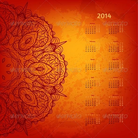 2014 Year Arabesque Calendar - Backgrounds Decorative