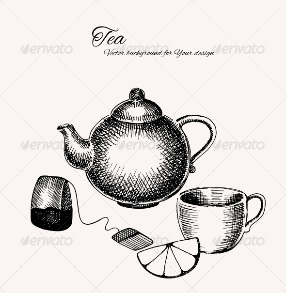 Black and White Tea Background - Backgrounds Decorative