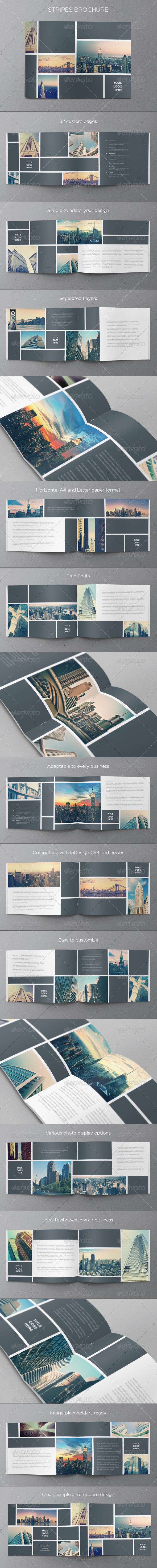 Real Estate Stripes Brochure - Brochures Print Templates