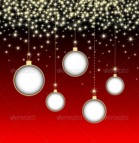 Christmas Ball on Red Background with Snowflakes - Christmas Seasons/Holidays