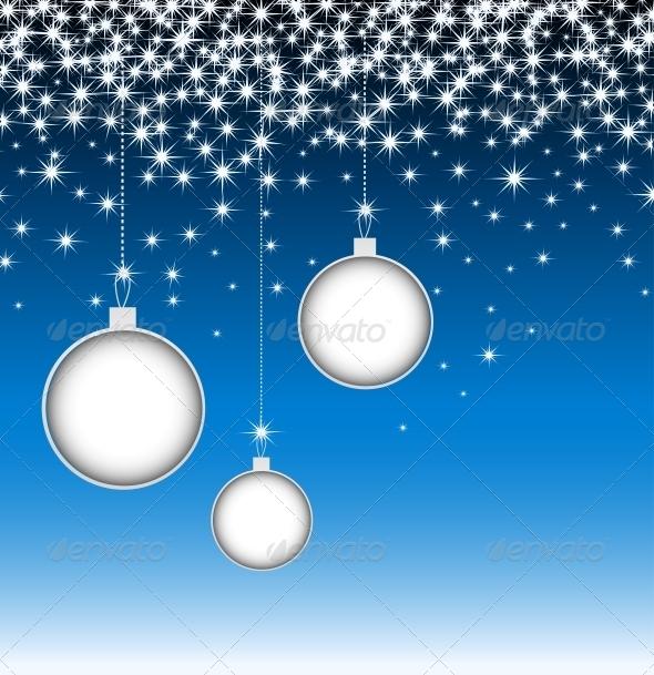 Christmas Balls on Blue Card with Snowflakes - Christmas Seasons/Holidays