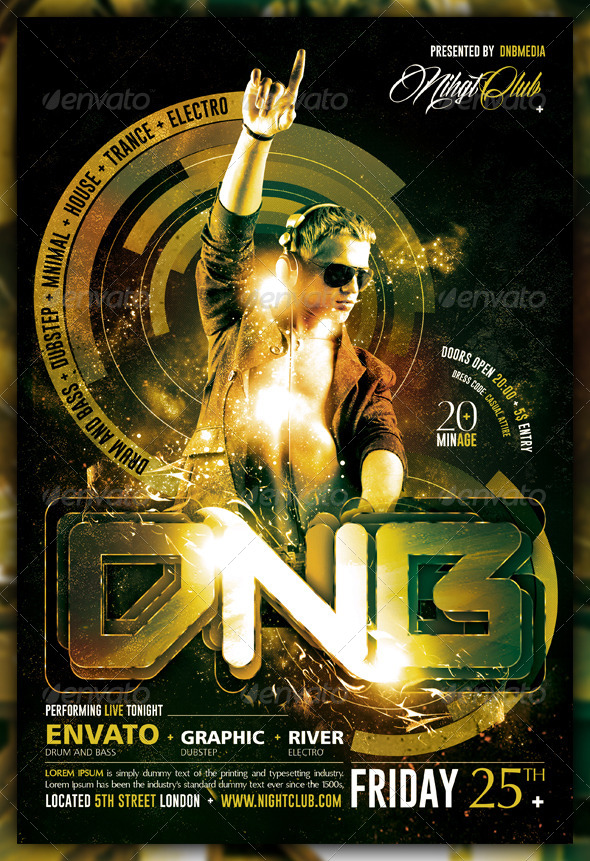 Dubstep / Drum and Bass / Electro Flyer / Poster - Concerts Events
