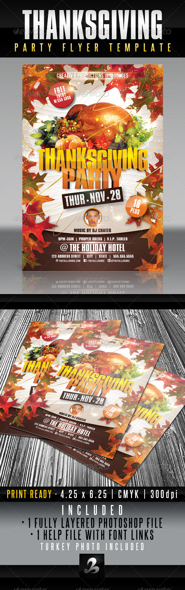 Thanksgiving Party Flyer Template - Holidays Events