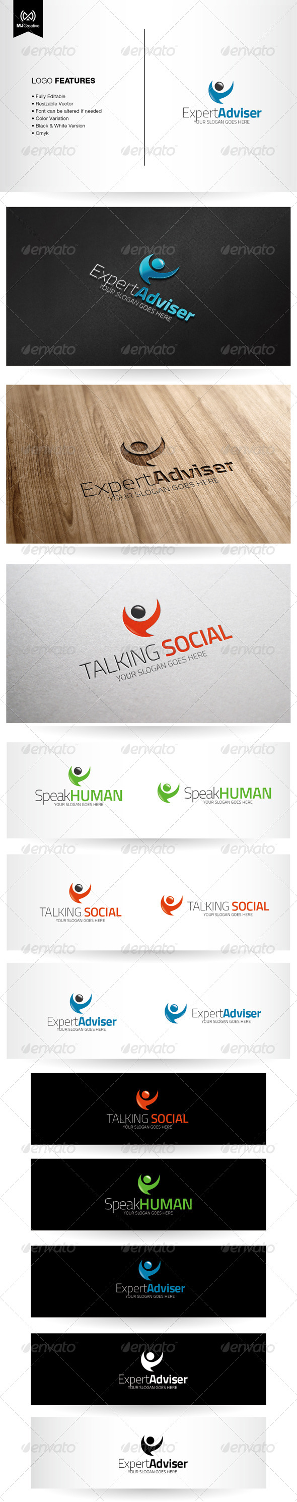 Abstract Human Speech Bubble Logo - Vector Abstract