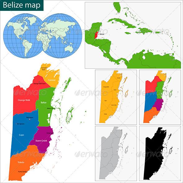 Belize Map - Travel Conceptual