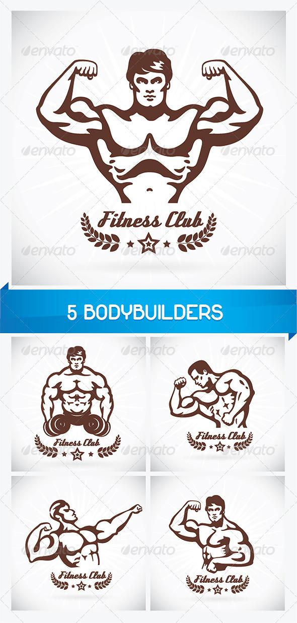 5 Bodybuilders  - People Characters