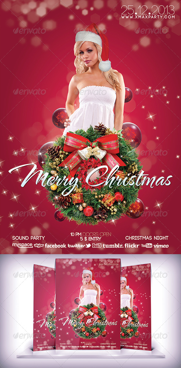 Xmas Party Night - Flyers Print Templates