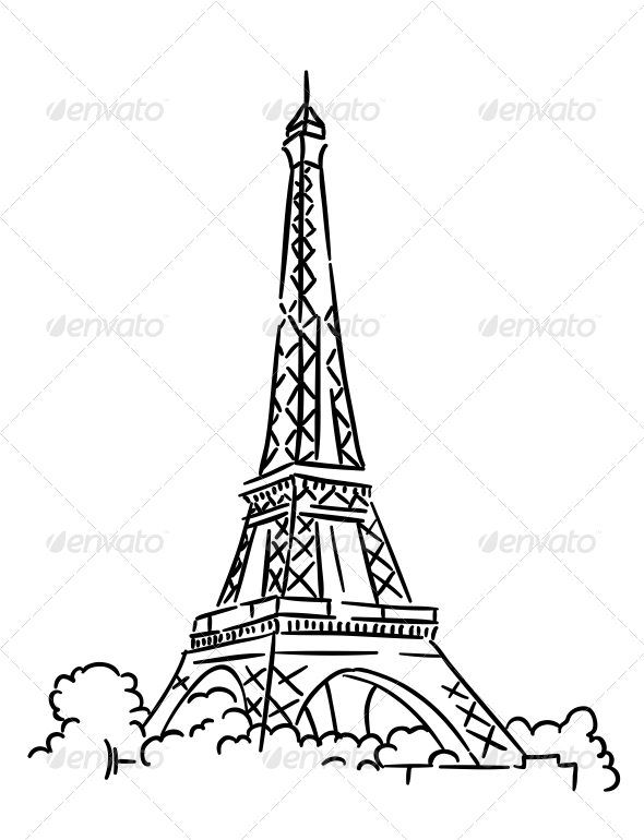 Eiffel Tower in Paris France - Travel Conceptual