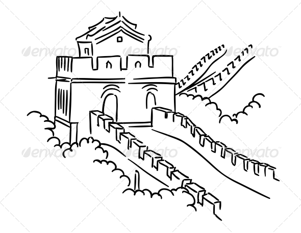 Great Wall in China - Travel Conceptual