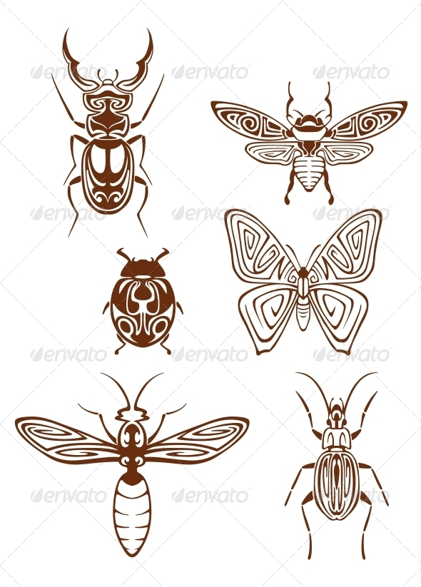 Insects Tattoos in Tribal Style - Tattoos Vectors