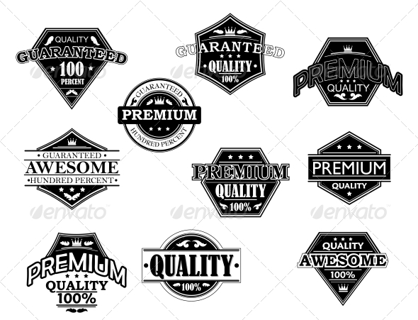 Set of Labels and Banners in Retro Style - Decorative Symbols Decorative