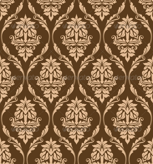 Brown Floral Seamless Pattern - Patterns Decorative
