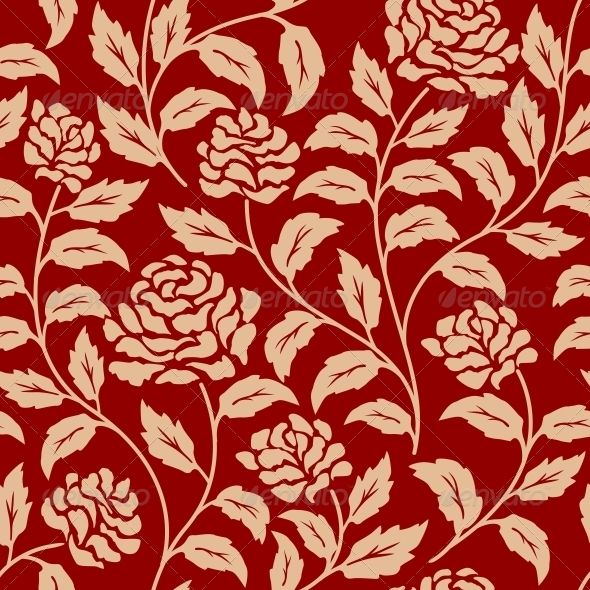 Red Floral Seamless Pattern - Patterns Decorative