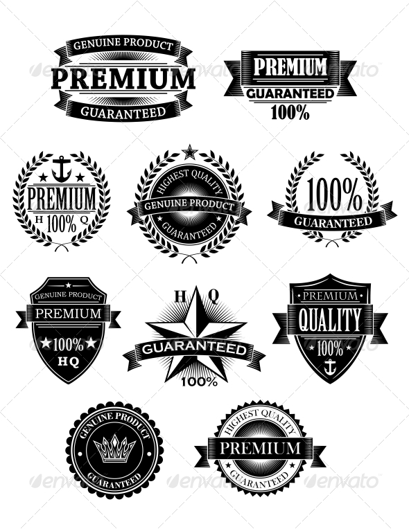 Banners and Badges for Guarantee Design - Decorative Symbols Decorative